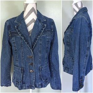 BILL BLASS Jeans Blue Jean Denim Jacket Coat Sz L